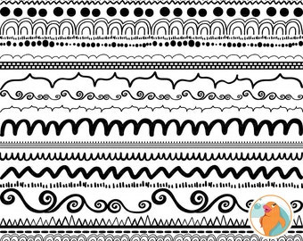 Hand Drawn Border Doodle Clip Art, PNGs + Photoshop Brush, Border ClipArt, Dashes, Scallops, Zig Zags, Dots, Whimsical Dividers
