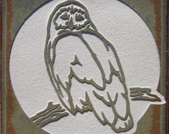 4x4 Snowy Owl - 4x4 Etched Porcelain Tile - SRA