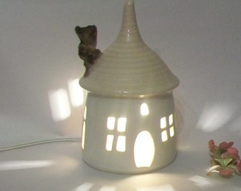 Fairy House/ Night Light - with a Palest Pink Roof-----  Ready to Ship