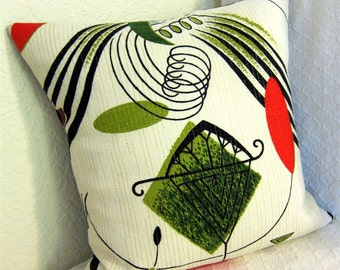 "Mid Century Modern Eames Pillow Cover -- Atomic Mobiles -- Vintage Barkcloth - for 18"" x 18"" insert"
