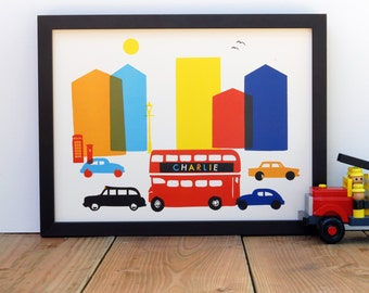 London Street Scene / A Personalized Print for Baby Girl's or Boy's Nursery/Playroom