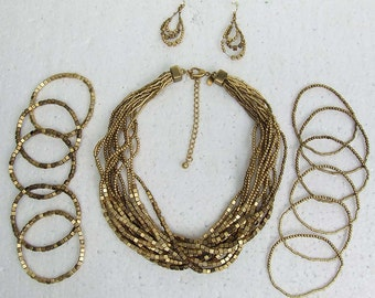 Many Multiple Strands Twisted Gold Mesh Cubes and Balls Necklace Bracelets and Earring Set Stunning Shiny Chic ATCTTEAM