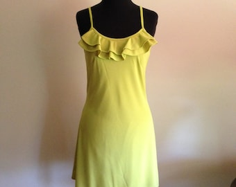 Chartreuse Dress with ruffle