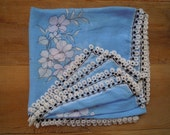 Blue cotton scarf with handmade black and white crochet beaded edge