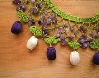 Crochet bib necklace, green purple white amethyst