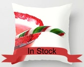 "16"" Christmas Throw Pillow Covers ~ Candy Cane ~ Holiday Cocktail Cushion, Red, Green, White, Hostess Gift Idea, Festive Office Lounge Decor"