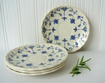 Myott Finlandia Saucers-Set of 4-Made in England-Blue & White China