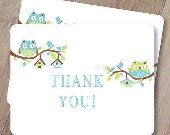 Hoot Owl Hoot, Thank You Cards, Set of 10 Blank Folded, Professionally Printed