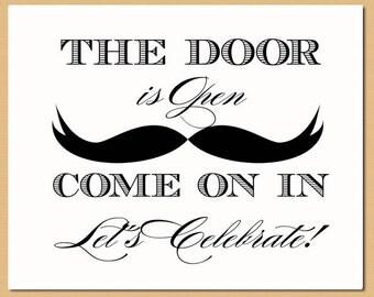 Printable Mustache Door Sign - Mustache Sign, Mustache Bash, Wedding Sign, Little Man Birthday