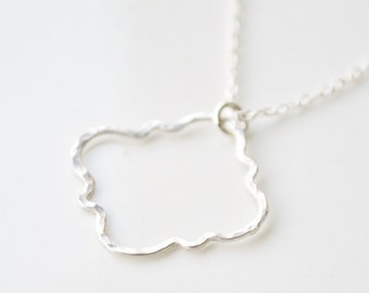 Hammered Moroccan Sterling Silver Pendant & Chain Necklace - Quatrefoil