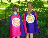 CUSTOM SUPERHERO CAPE - Big sister gift - Little Sister gift - Big brother gift - Little brother gift - sibling gift - New Baby