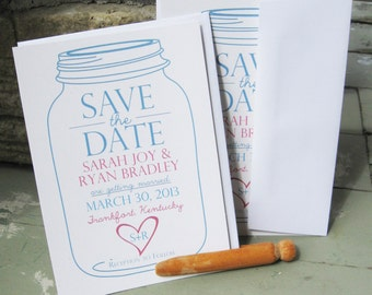 Save the Date - Mason Jar with Heart - card and envelope