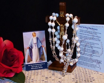 Our Lady of Grace Full-Size Catholic Rosary - Genuine White Carved Mother of Pearl Lotus Beads
