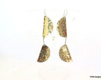 Modern tribal earrings, silver artisan made dangle earrings, gift under 40