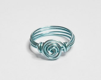 Spiral Baby Blue Handmade Wire Wrapped Ring Sizes 1-14