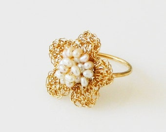 Gold Flower Ring, Pearl Flower Ring, Cocktail Ring, Gold Pearl Ring, Gold Filled Pearl Ring, Unique Pearl Ring, Crochet Wire Ring