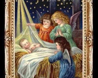 Baby Jesus Christmas Miniature Dollhouse Art Picture 6252