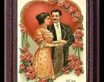 Victorian Valentine Miniature Dollhouse Valentine's Day Art Picture 6822
