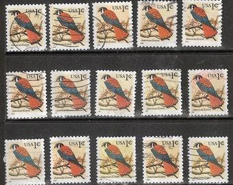 25 Vintage AMERICAN KESTREL Used & cancelled US 1c Bird Postage Stamps (Orange and Blue in color)