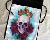 Skull, Crown and Roses satin drawstring bag by Jane Starr Weils