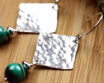 Sterling silver diamonds & malachite earrings