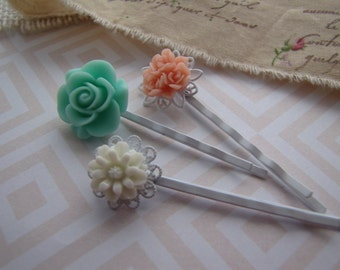 Mint and Peach . bobby pins . girls hair accessory . floral filigree