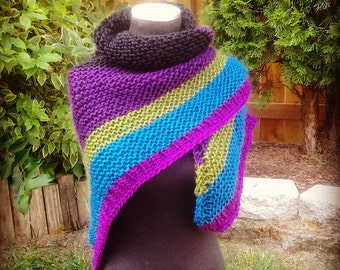 Hand Knit Kerchief Shawl in Black, Plum, Olive, Teal and Magenta