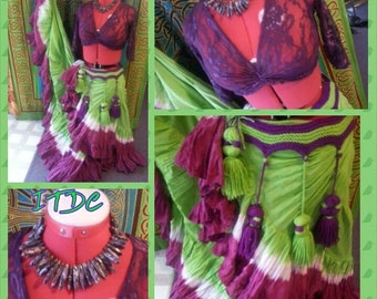 25yd Hand Dyed Lime Green with White Stripe ending in a Amethyst Ruffle