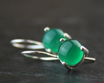 green onyx and sterling silver earrings - READY to SHIP