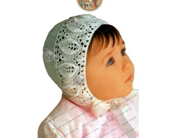 Leaf Border Baby Bonnet - Art Nouveau Style - PDF Instant Download Knitting Pattern - Newborn to Six Months - PrettyPatternsPlease