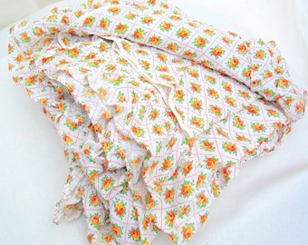 vintage bedspread.seersucker.cabin.mountain.beach.orange roses.60's.retro.lightweight.ruffled.tessiemay vintage