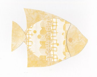 8x10 Yellow Fish Paper Collage Print