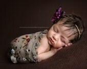 Baby Wrap and Baby Headband Set, Scarf, Baby Wrap, Tan and Purple Wrap, Newborn Tassels Wrap, Purple Tieback, Baby Girl Photo Prop