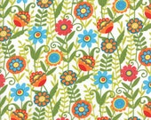 Small Floral in White (Orange, Blue and Green) from the Bloomin Fresh and Clean Collection, by Moda, 1 yard