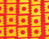 Modern Square Print in Poppy (Red and Yellow) from the From Outside In Collection, by Moda, 1 yard