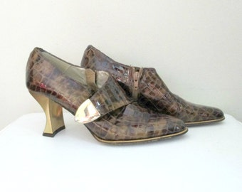 Brown Faux Lizard Shoe Booties Gold Heel 1980s Euro Street Style Size 8.5