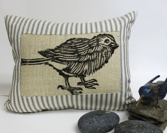 Decorative Throw Pillow Cushion with Bird Block Print in Black Ink with Grey Ticking Stripe Fabric