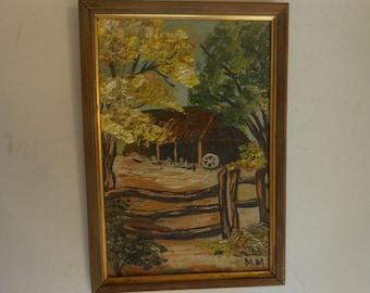 Vintage original oil, barn behind a split rail fence, narrow wood frame.