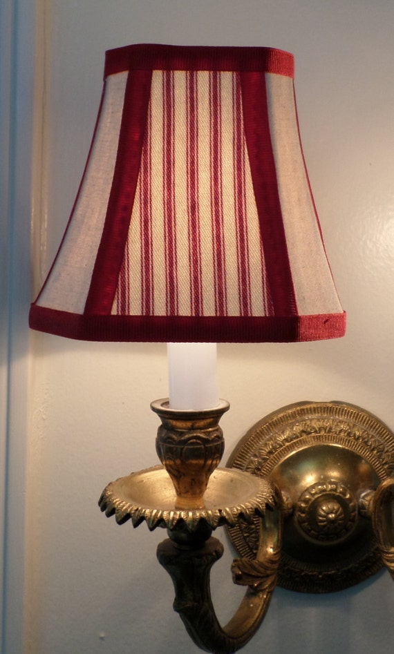 French Country Chandelier Shades In A Fresh Red Pillow Ticking