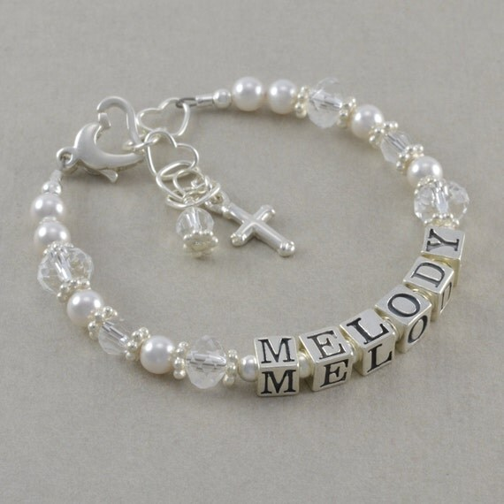 Baptism Bracelet Cross Bracelets by SixSistersBeadworks on ...