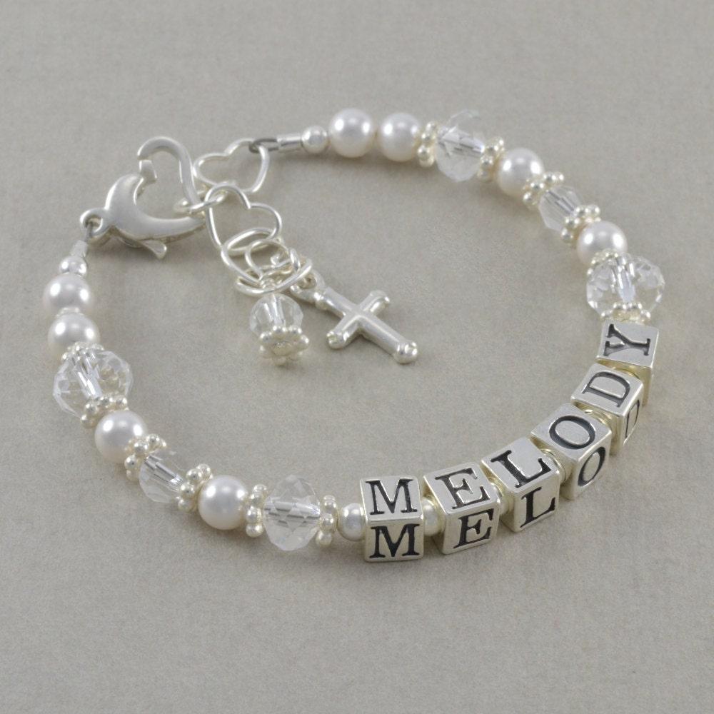 baptism bracelet cross bracelets by sixsistersbeadworks on