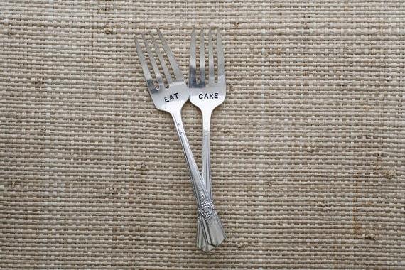 Vintage Silverware Silver Plated Dessert Forks Eat Cake, Mr Mrs Bride Groom I DO ME TOO