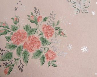 Vintage Wallpaper - Butterflies Pink Roses Silver accents - 1 Yard