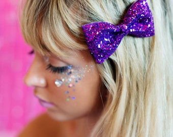 Purple Glitter Hair Bow, Sparkly Glitter Bow, Party Bow, Prom Accessory
