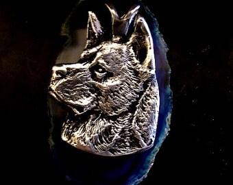 LARGE AKITA DOG  Dog Pendant Sterling Silver Free Domestic Shipping