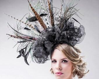 Spectacular Fascinator - Free Bag - Black Dramatic Crown Spikes Swards - Statement Hair Piece - Race Wear - Headpiece Unique - Ella Gajewska