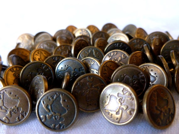 Vintage metal map buttons brass map buttons small metal for Buttons with shanks for jewelry