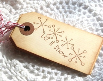 Let It Snow Handstamped Tags 6pcs