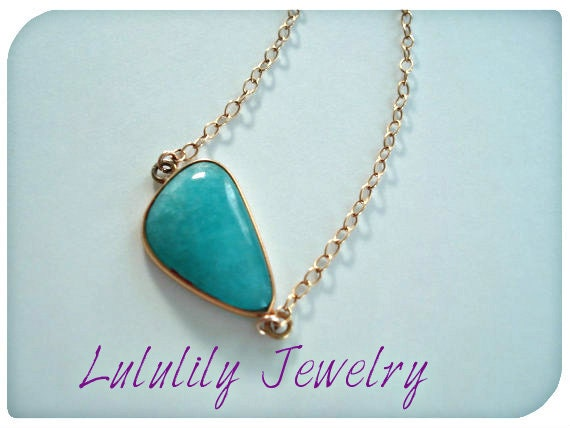 Amazonite Necklace, Gold Gemstone Necklace, Everyday Pendant Necklace, 17 inch Chain