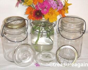 Flower Frog Mason Jar Vases 3 Pint Ball Antique Lightning Jars, Weddings, Garden Flowers, Centerpieces, Mason Jars
